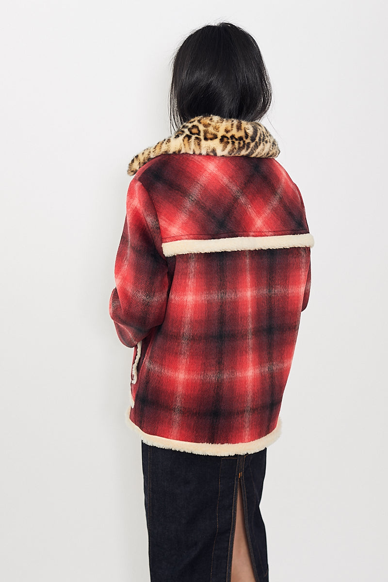 N°21 Leopard Collar Plaid Jacket
