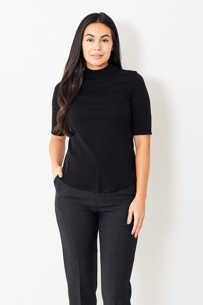 Lilla P Elbow Sleeve Mock Neck Tee