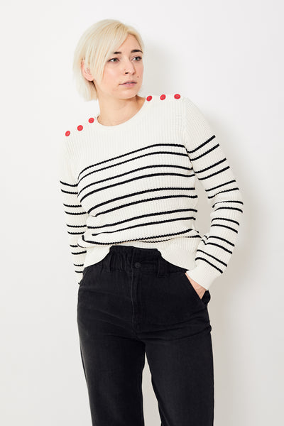 Lilla P Striped Crewneck Sweater
