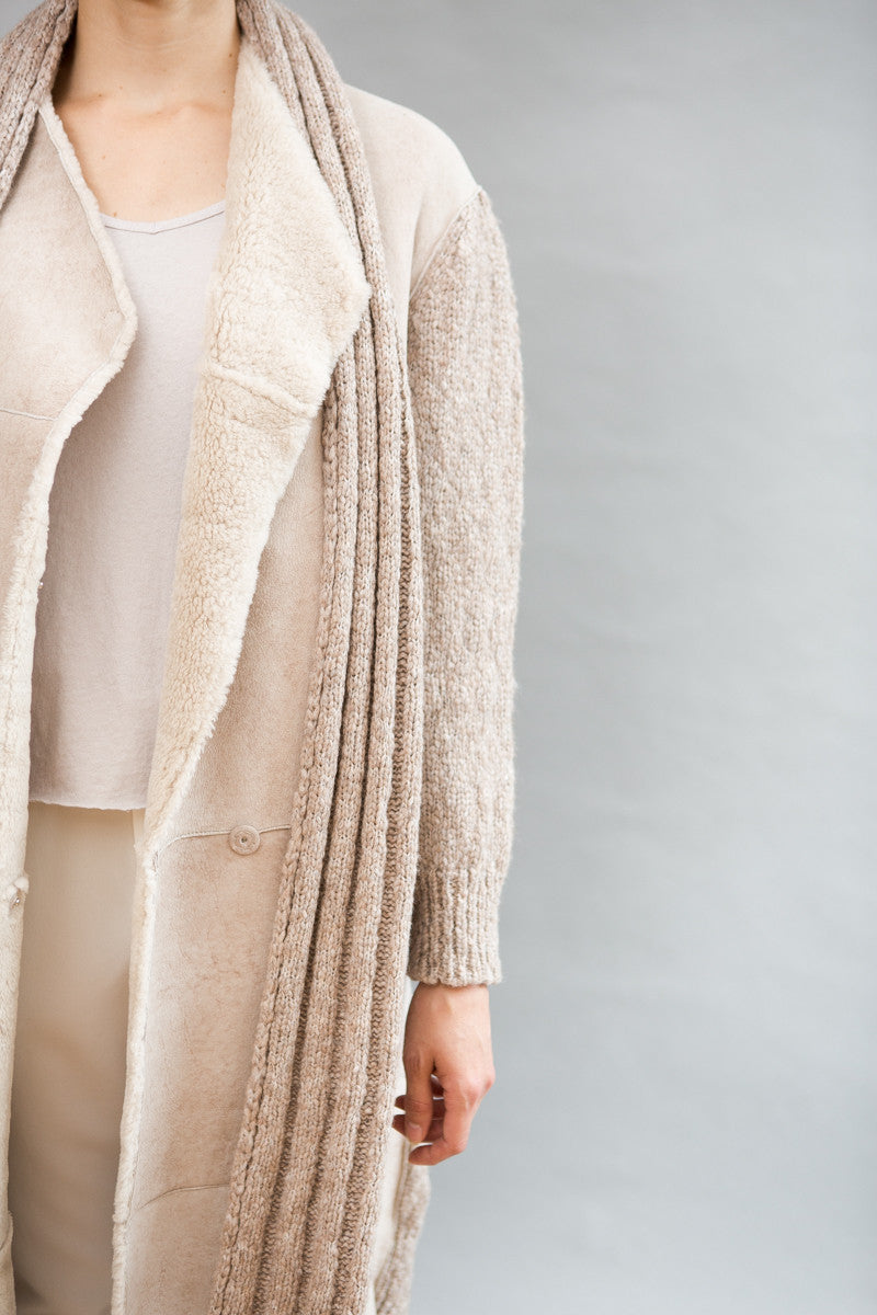 Liven Long Shearling Detachable Scarf Coat - grethen house