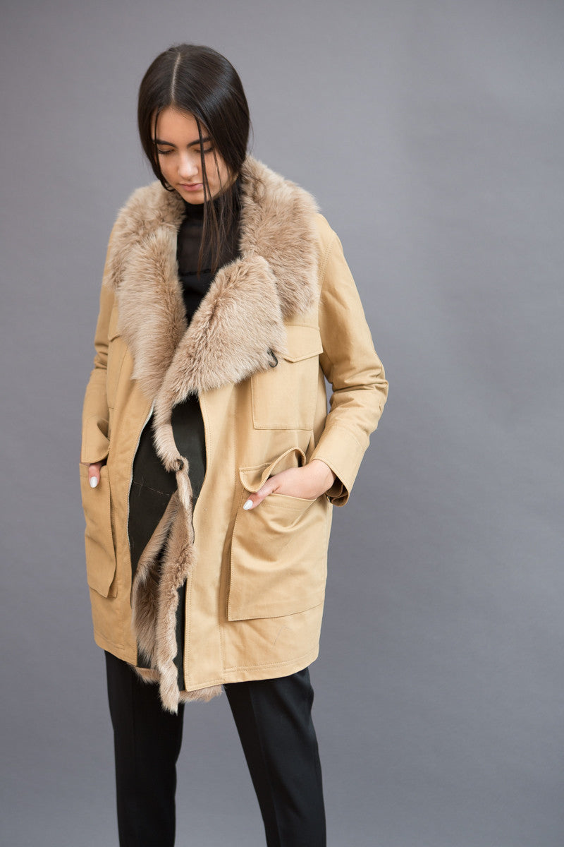 Liven Shearling Mix Fabric Coat - grethen house