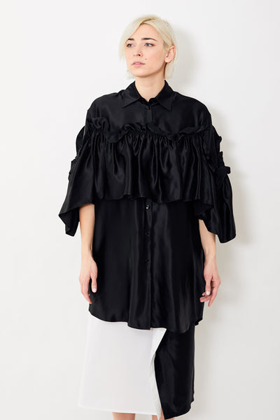 MM6 Maison Margiela S/S Button Down Dress w/Detachable Ruffle