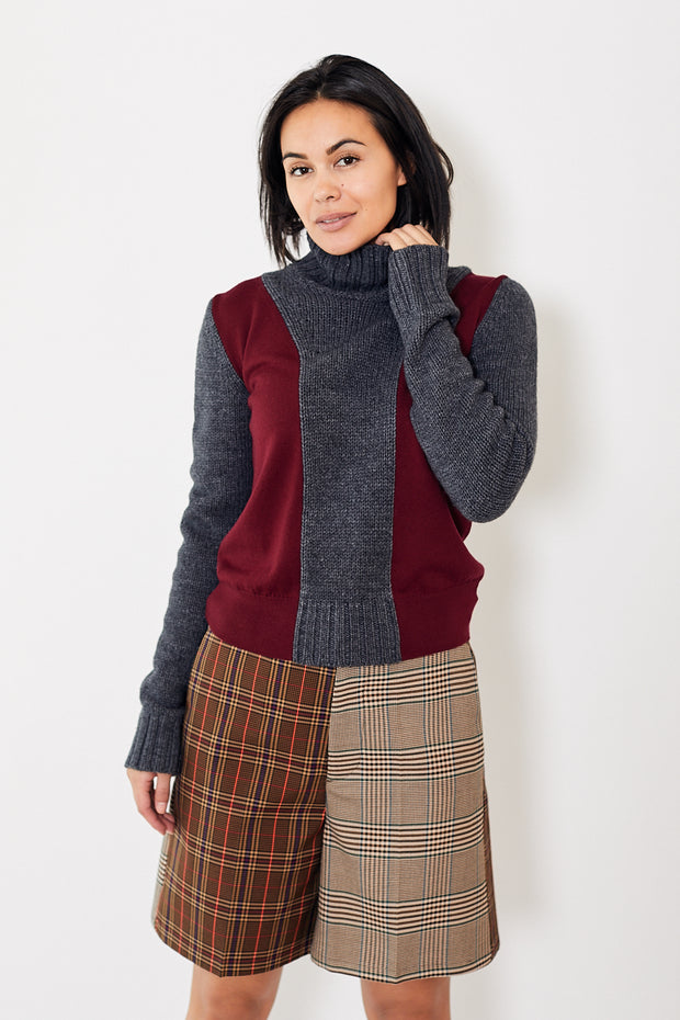 MM6 Color Block Turtleneck Dark Grey / Bordeaux