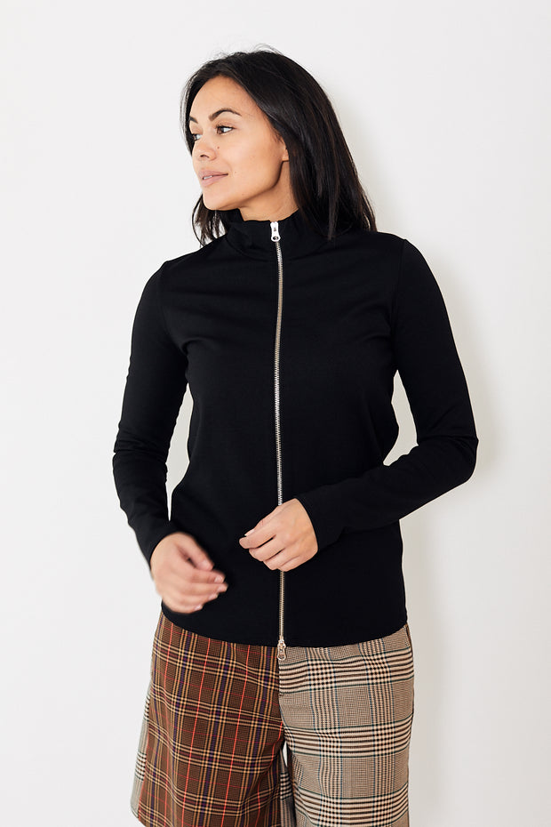 MM6 Long Sleeve Zip Up Top Black