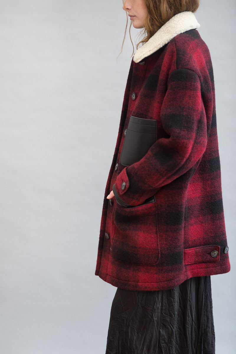 MM6 Maison Margiela Checked Felt Coat - grethen house