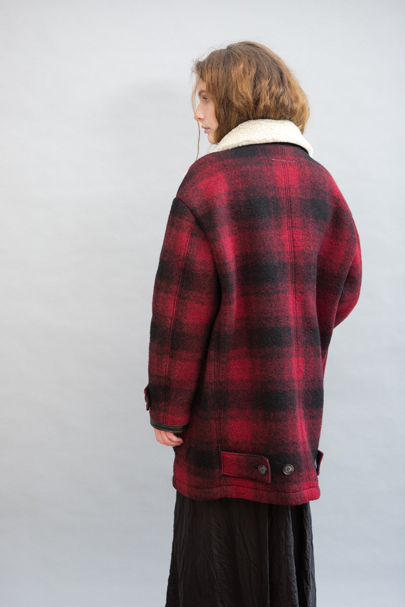 MM6 Maison Margiela Checked Felt Coat