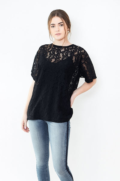 MM6 Maison Margiela Cotton Lace Stretch T-Shirt
