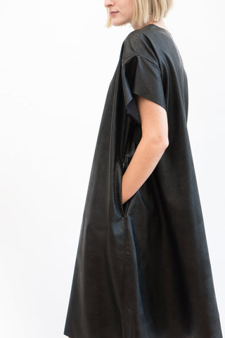 MM6 Maison Margiela Faux Leather A Line Dress