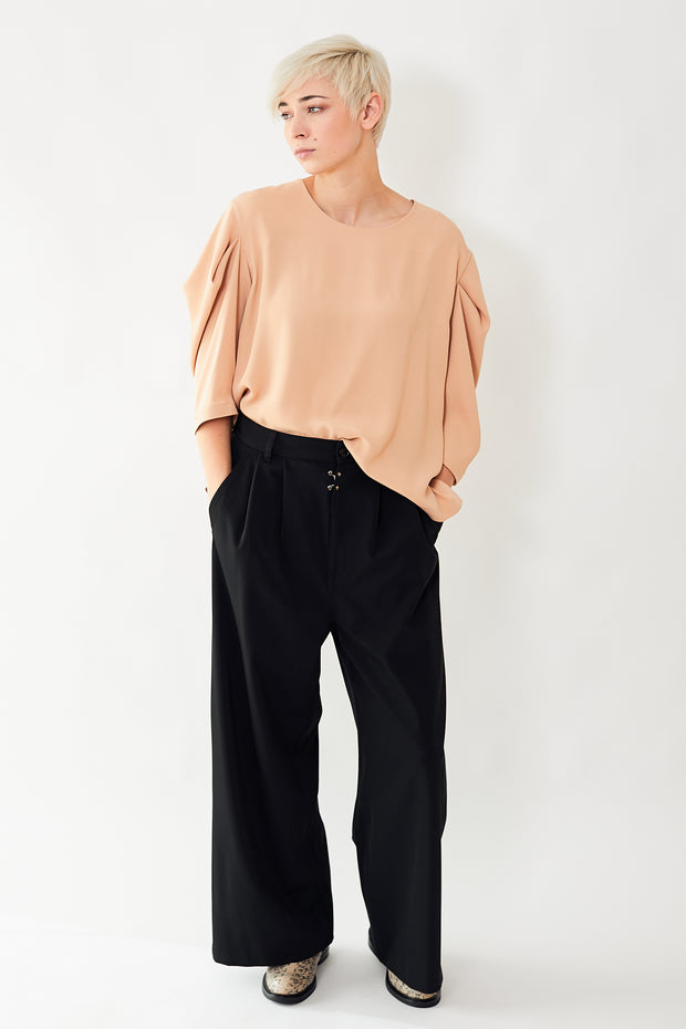 MM6 Maison Margiela Polyester Pleated Wide Leg Pant