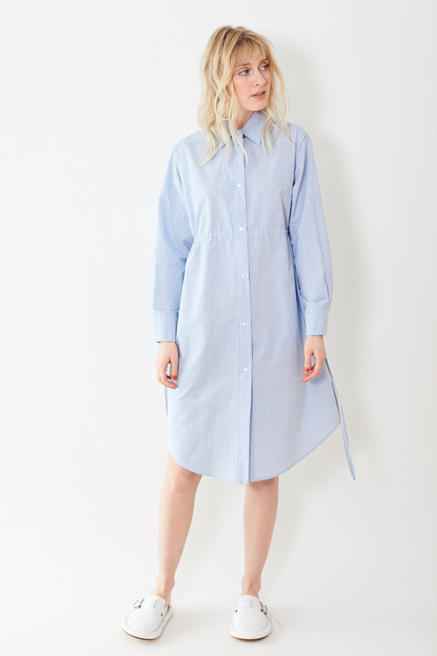 MM6 Maison Margiela Stripe Shirt Dress with Open Long Sleeves
