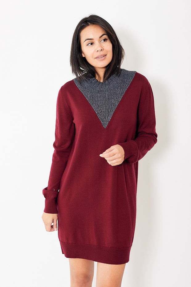 MM6 Mockneck Sweater Dress Dark Grey / Bordeaux