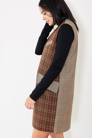 MM6 Sleeveless Checked Dress Mix Brown Checked