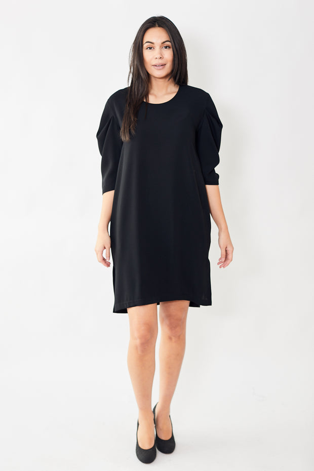 MM6 by Maison Margiela 3/4 Sleeve Pintuck Sleeve Dress