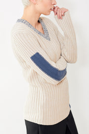 MM6 Maison Margiela Blue Stripe V Neck Sweater