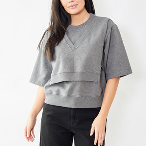 MM6 by Maison Margiela Short Sleeve Bib Sweatshirt