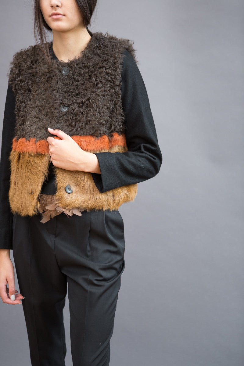 Maison Père Fur Coat Removable Sleeves