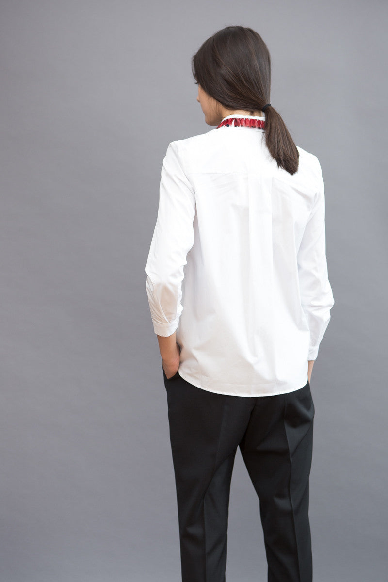 Maison Père Shirt With Feather Collar