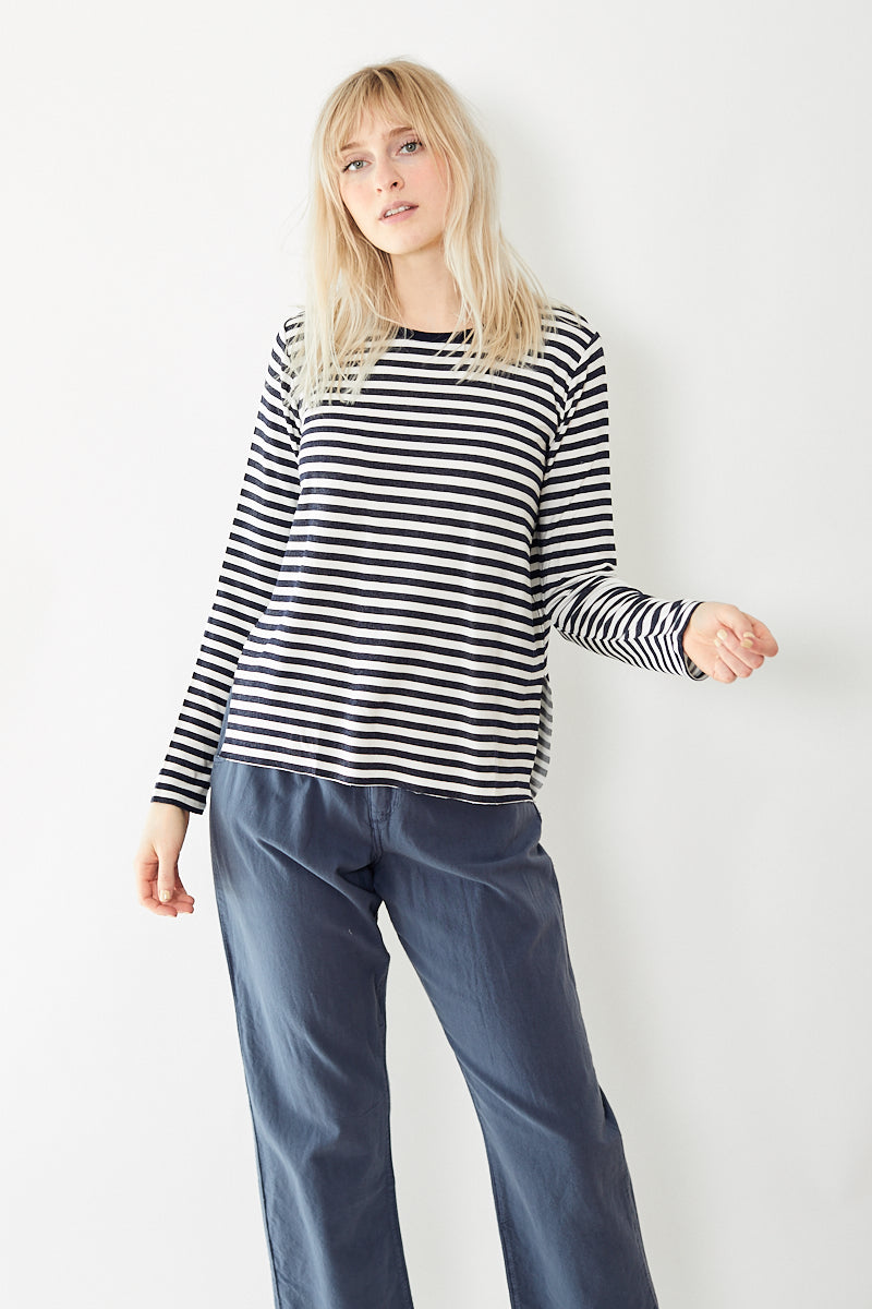Majestic French Terry Stripe L/S Crew with Side Slits