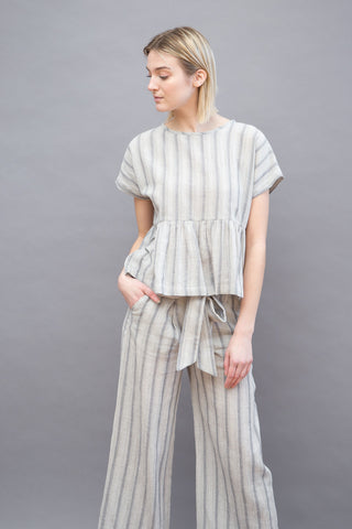 Masscob Ruffle Bottom Stripe Top