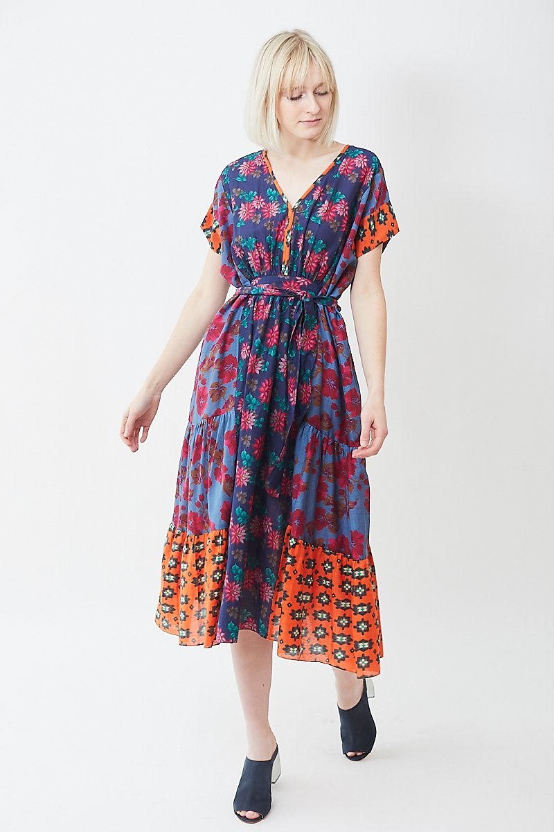 Megan Park Patch Print Tiered Dress
