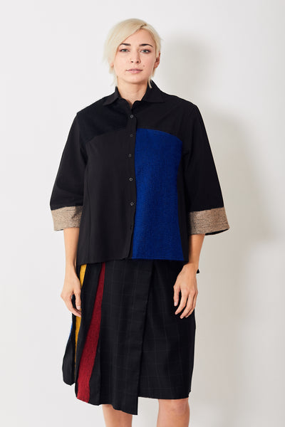 Mii Mohair Embroidered Color Block Shirt