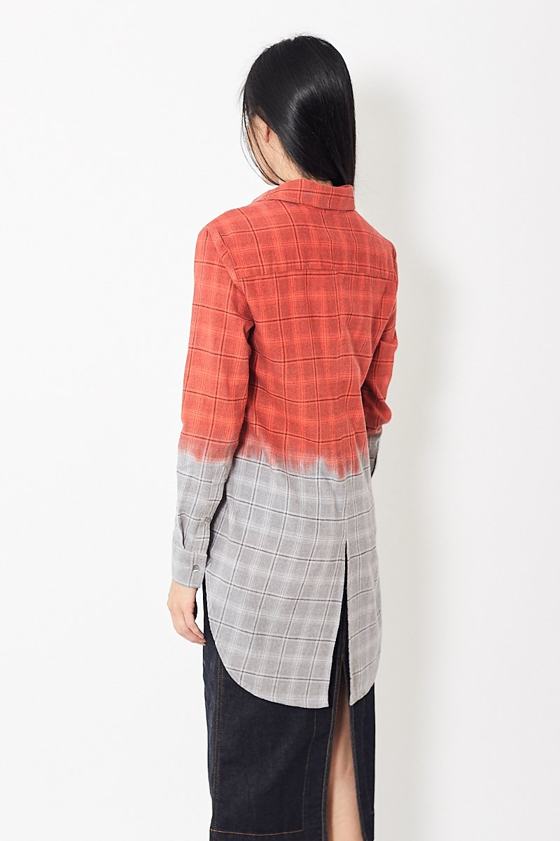 Mona Thalheimer Dip-Dyed Tail-Tie Flannel Shirt
