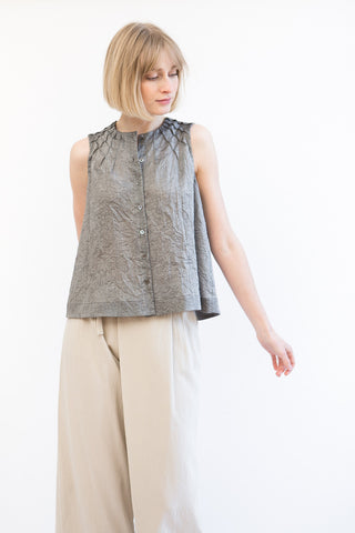 Mona Thalheimer Sleeveless Shirt With Tucks