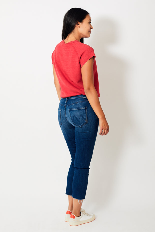 Mother Denim The Mid Rise Dazzler Crop Fray
