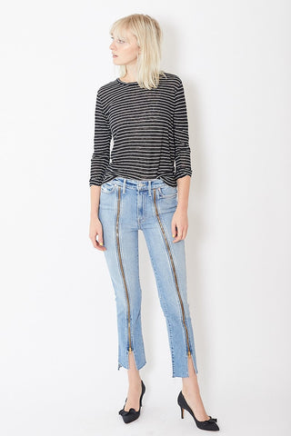 Mother High Waisted Rascal Zip Step Fray
