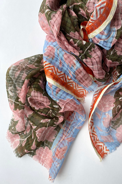 Épice Cotton/Silk Floral Scarf