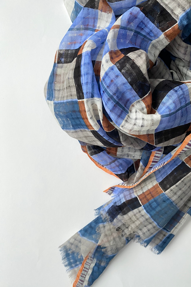 Épice Cotton/Silk Large Check Scarf