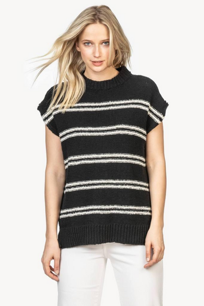 Lilla P Striped Mock Neck Poncho Sweater