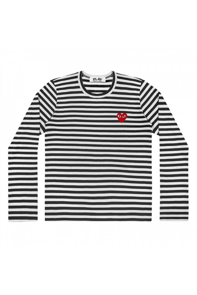 Comme des Garçons PLAY Striped L/S Tee Shirt w/Small Red Heart