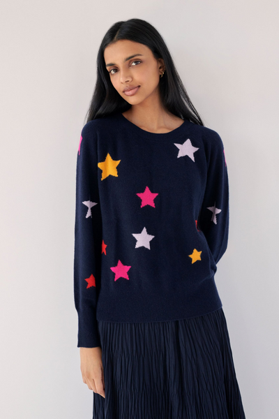 White + Warren Star Intarsia Long Sleeve Sweatshirt