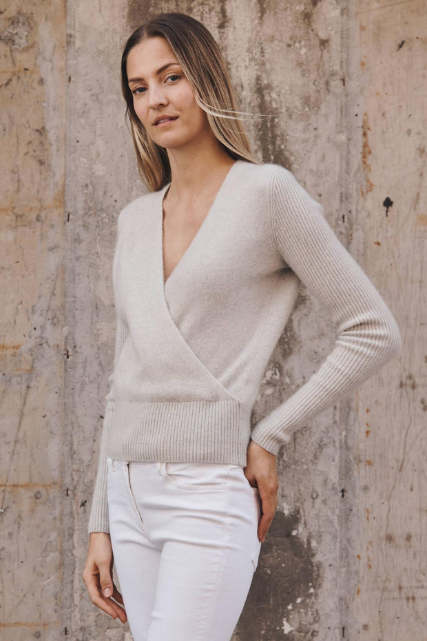 White + Warren Ribbed Sleeve Wrap Top