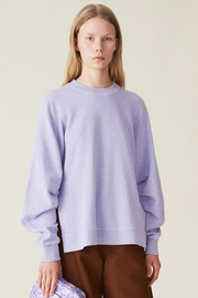 Ganni Isoli Sweatshirt w/ Pleated Sleeves