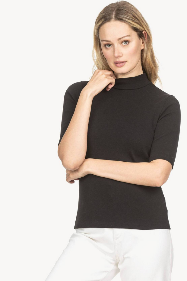 Lilla P Elbow Sleeve Mock Neck