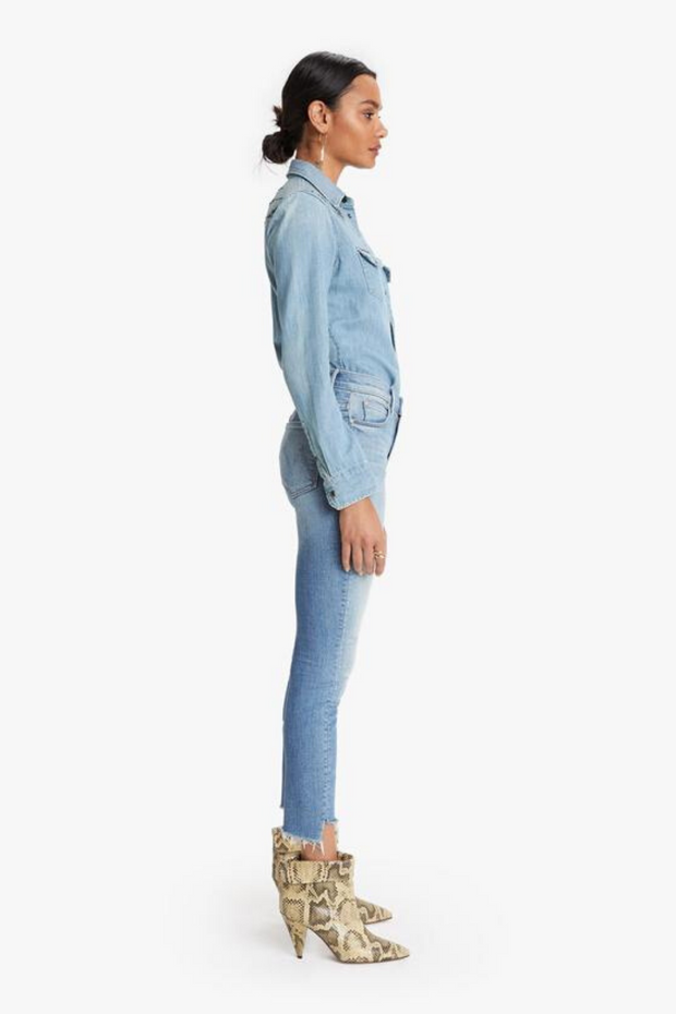 Mother Denim Stunner Zip Ankle Step Fray