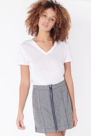 Veronica Beard Ava Mini Skirt w/ Tux and Zipper Stripe