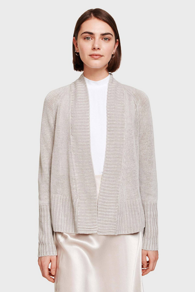 White + Warren Rib Placket Open Cardigan