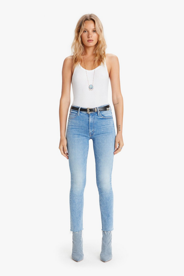 Mother Denim Mid Rise Dazzler Ankle Fray