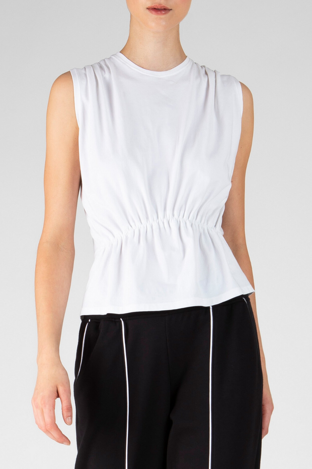 ATM Anthony Thomas Melillo Sleeveless Cotton Tee w/ Tuck Detail