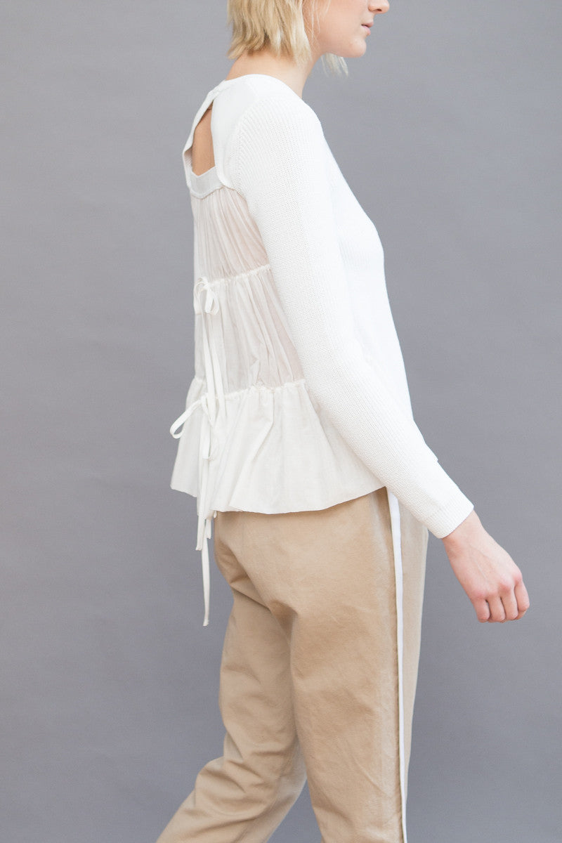 N°21 Ruffle Back Long Sleeve Crew