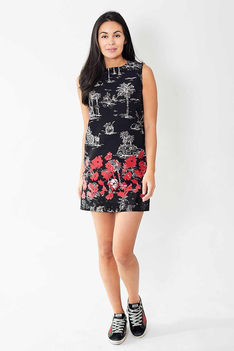 N°21 Sleeveless Vacation Printed Dress with Sequins