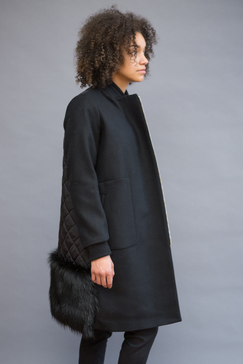 N°21 Zip Coat With Faux Fur Back