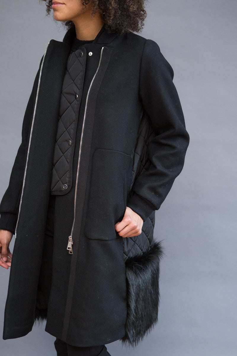 N°21 Zip Coat With Faux Fur Back - grethen house