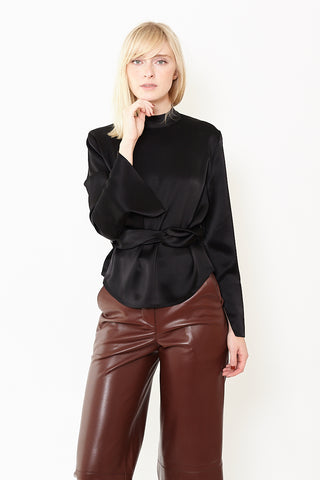 Nanushka Almond Long Sleeve Belted Top