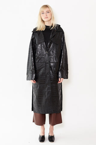 Nanushka Gus Vegan Croco Elongated Duster