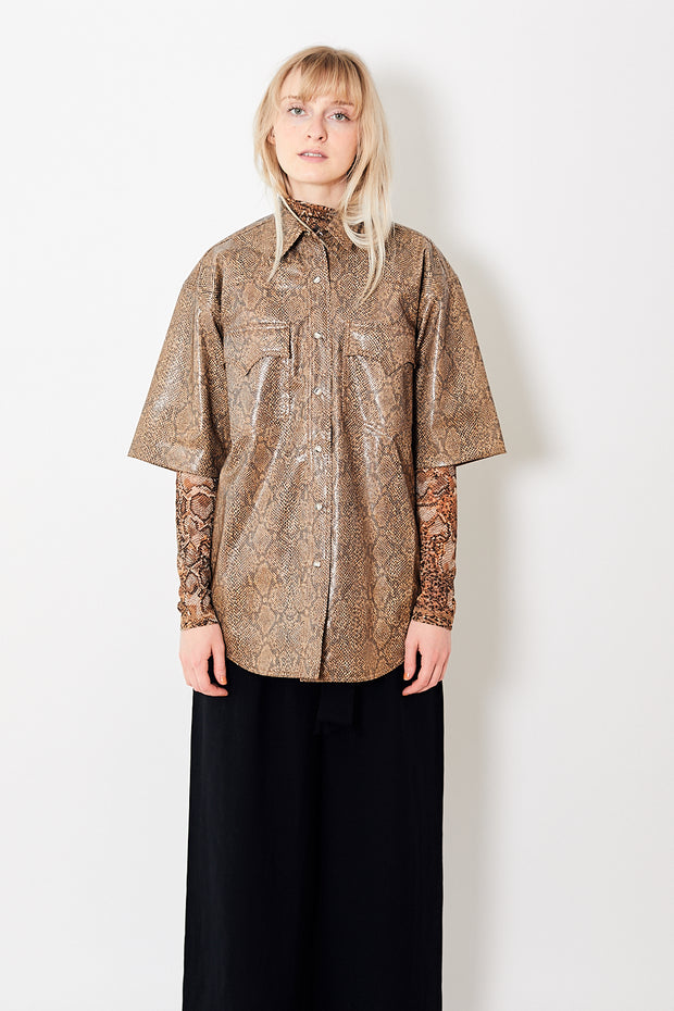 Nanushka Seymour Oversized Short Sleeve Shirt