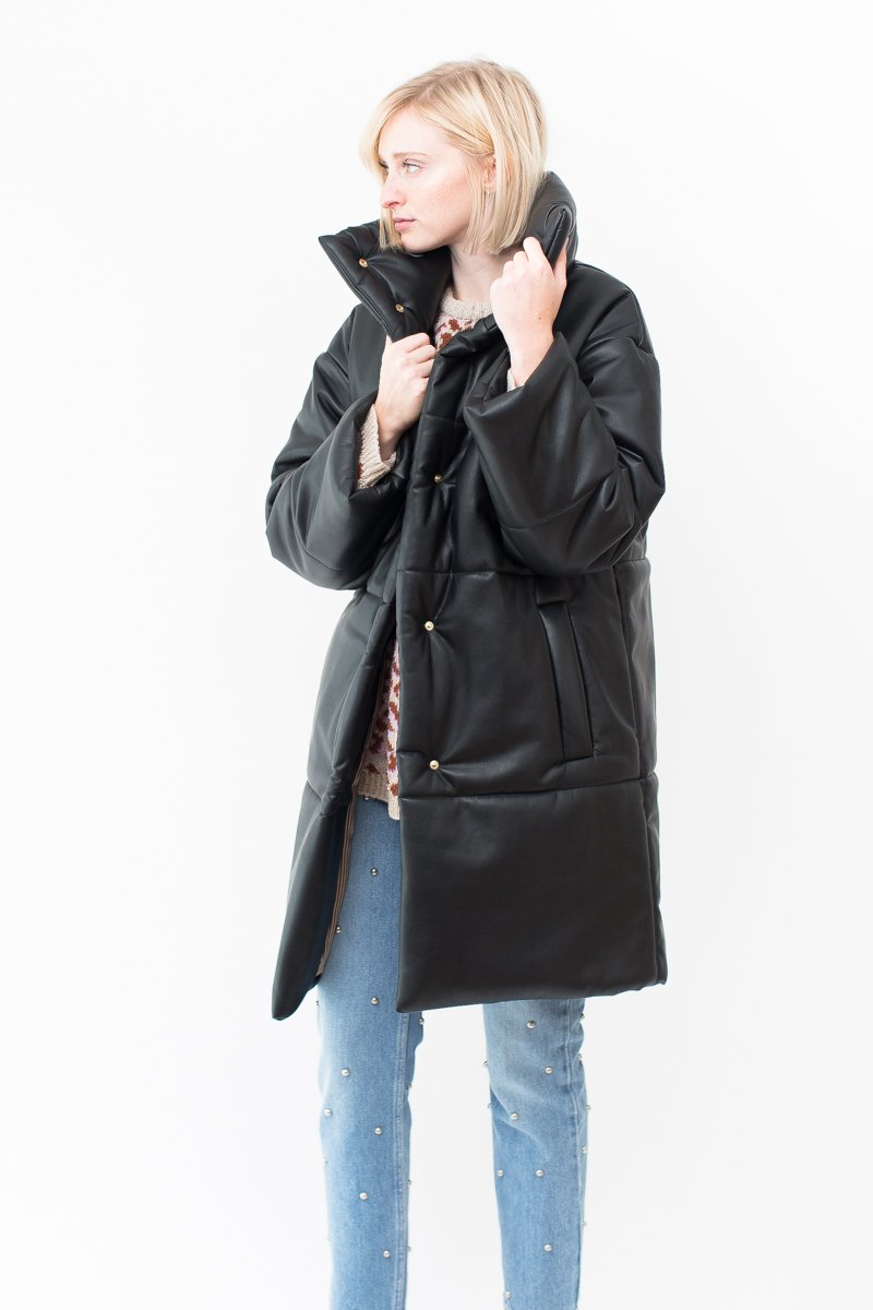 Nanushka Vegan Leather Puffer Coat